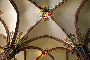 Melanchthon House, Memorial Hall, vaulting, coat of arms, Bretten, Kraichgau, district of Karlsruhe, Baden-Wurttemberg, Germany