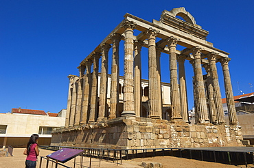 Ruins of Diana's temple in the old Roman city Emerita Augusta, Silver Route, Merida, UNESCO World Heritage site, Via de la Plata, Badajoz province, Extremadura, Spain