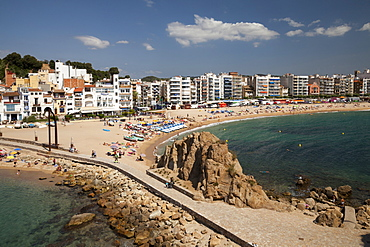 Hotels, beach, Blanes, La Selva, Costa Brava, Catalonia, Spain