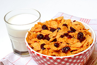 Cornflakes and Cranberries, glass of milk