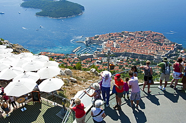 View of old town from cable car station, Dubrovnik, Dalmatia, Croatia
