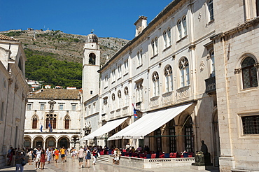 Sponza Palace, bell tower, town hall, old town, Dubrovnik, Dalmatia, Croatia / clock tower