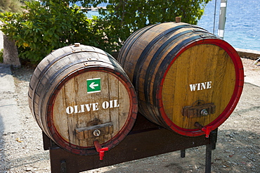 Barrels for olive oil and wine, Kuciste, peninsular Peljesac, Dalmatia, Croatia