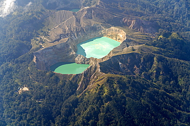 birds eye view of the Coloured Kelimutu volcano Crater Lakes in Moni, Flores, Indonesia, Asia