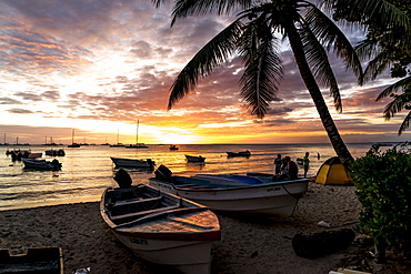 excursion boats on the beach at sunset, Bayahibe, Dominican Republic, Carribean, America,