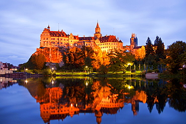Sigmaringen Castle , princely castle for the Princes of Hohenzollern-Sigmaringen in Sigmaringen, Baden-Wuerttemberg, Germany
