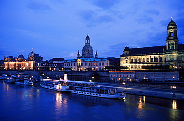 View on old part of Dresden over Elbe river, Bruhl Terrace, Saxony, Germany / Bruhlsche Terasse