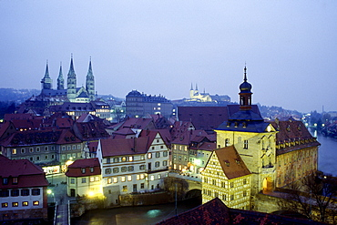 Old part of Bamberg, townhall and cathedral, Bamberg, Bavaria, Germany