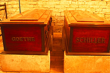 Coffins, princes grave of Goethe and Schiller, Weimar, Thuringia, Germany
