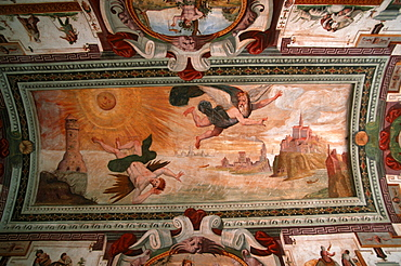 Ceiling painting, Palazzo Roncas, Aosta, Piemont, Italy
