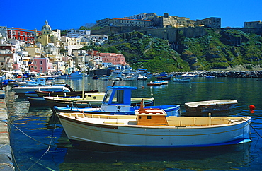 Fishing harbour, fortress, Corricella, Procida, Bay of Naples, Campania, Italy