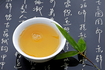 Cup of green tea, Bamboo leaf and japanese characters