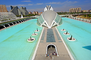 L'Hemisferic, named 'the eye', architect Santiago Calatrava, IMAX-Cinema and planetarium, City of Arts and Sciences, Valencia, Spain