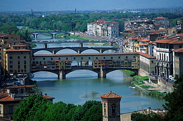 View on river Arno with bridge Ponte Vecchio and the old part of Florence, Tuscany, Italy