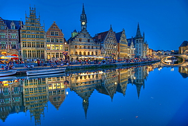Guild houses and river Leie in the evening, old town of Ghent, East Flanders, Belgium