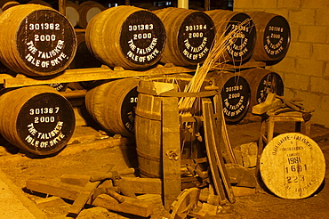 Barrels, Talisker distillery, Isle of Skye, Highlands region, Scotland / Whisky, Whiskey