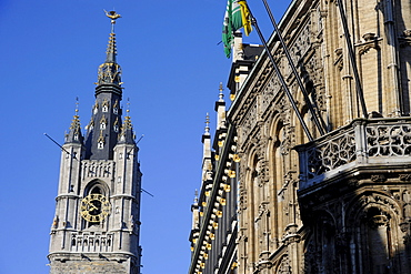 Town hall and belfry, Ghent, East Flanders, Belgium / City hall, bell tower, Belford