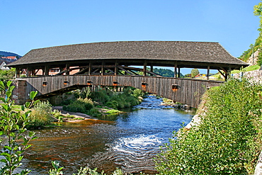 Historical roofed bridge, Murg River, Forbach, Baden-Wurttemberg, Germany