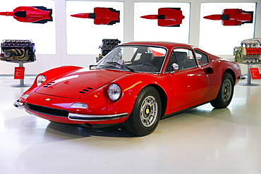 Red Ferrari Dino 246 Gt produced in 1971, Maranello, Emilia-Romagna, Italy, Europe