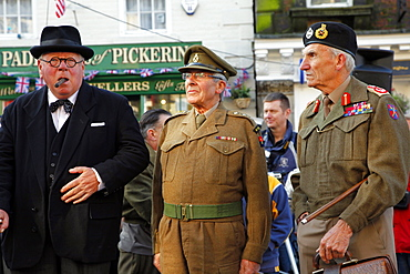 Winston Churchill and General Montgomery lookalikes, Pickering, North Yorkshire, Yorkshire, England, United Kingdom, Europe