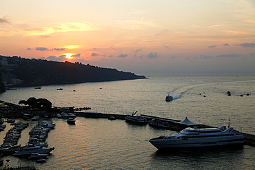 Sunset over Harbour, Sorrento, Campania, Italy, Europe