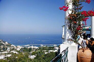 Marina Grande and Mediterranean from Piazza Umberto I (La Piazzetta), Capri, Campania, Italy, Europe