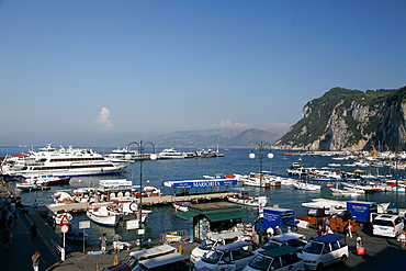 Ferries, boats amd taxis at Harbour, Capri, Campania, Italy, Europe