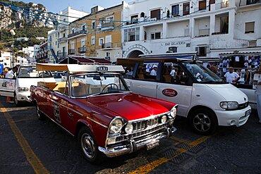 Classic red Fiat 1600 Open Taxi, Capri, Campania, Italy, Europe