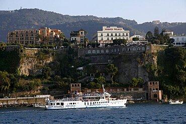 Pleasure boat near Harbour, Sorrento, Campania, Italy, Europe