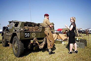 British Army Paratrooper talks to woman, Waddington, Lincolnshire, England, United Kingdom, Europe