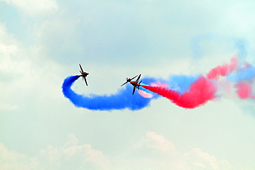 Three Hawk T1 Jets Red Arrows, Waddington, Lincolnshire, England, United Kingdom, Europe