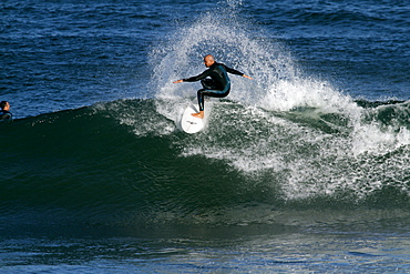 Surfer in Indian Ocean, Jeffreys Bay, Eastern Cape, South Africa, Africa