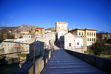 Old Town from the rebuilt Stari Most (Old Bridge), Mostar, UNESCO World Heritage Site, Herzegovina, Bosnia and Herzegovina, Europe