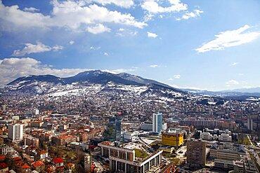 Sarajevo and mountain view fom Avaz Twist Tower, Sarajevo, Bosnia and Herzegovina, Europe
