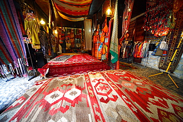 Old Town Turkish bedding stall, Sarajevo, Bosnia and Herzegovina, Europe