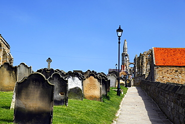 Gravestones and path alongside St. Mary's Church, Whitby, North Yorkshire, Yorkshire, England, United Kingdom, Europe
