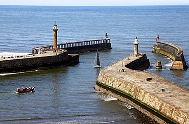 Lighthouse and Pier, Whitby, North Yorkshire, Yorkshire, England, United Kingdom, Europe