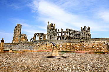 Statue and Whitby Abbey, Whitby, North Yorkshire, Yorkshire, England, United Kingdom, Europe