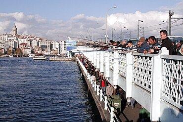 Fishing on Galata Bridge, Istanbul, Turkey, Europe
