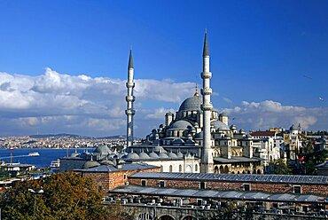New Mosque (Yeni Camii) and The Bosphorus, Istanbul, Turkey, Europe