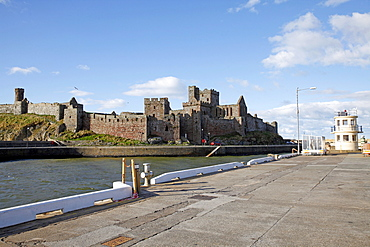 Peel Castle and Harbour Wall, Isle of Man, British Isles, Europe