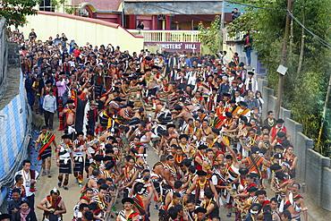 Stone pulling ceremony during Kisima Nagaland Hornbill festival, Kohima, Nagaland, India, Asia