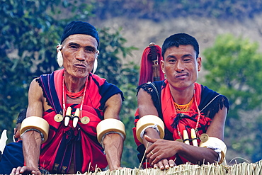 Naga tribal men in traditional clothing, Kisima Nagaland Hornbill festival, Kohima, Nagaland, India, Asia