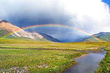 Rainbow over Naryn Gorge, Naryn Region, Kyrgyzstan, Central Asia, Asia