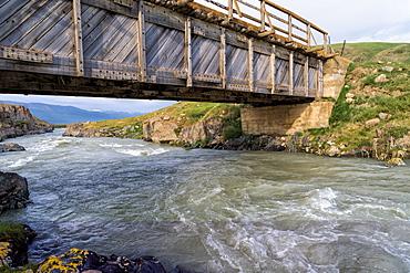 Wooden bridge over a Mountain river, Naryn Gorge, Naryn Region, Kyrgyzstan, Central Asia, Asia