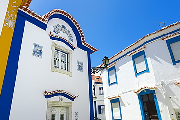 White houses with colorful decoration, Ericeira, Lisbon Coast, Portugal, Europe