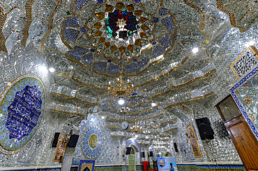 Emamzadeh Zeyd Mausoleum, entrance hall decorated with mirrors and Quran surah, Tehran, Islamic Republic of Iran, Middle East