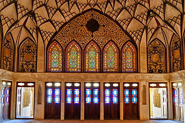 Tabatabai House, stained-glass windows, Kashan, Isfahan Province, Islamic Republic of Iran, Middle East