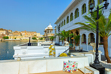 Lake Palace Hotel and view over City Palace, Udaipur, Rajasthan, India