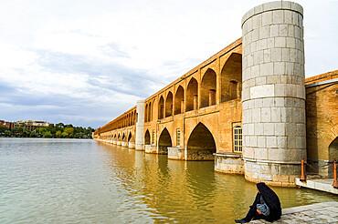 Si-o Se Pol bridge or Allahverdi Khan bridge over Zayanderud river, Esfahan, Iran